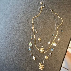 Betsey Johnson snowflake layering necklace